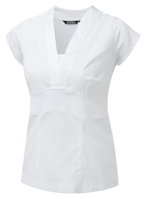 C2JA JOANNA V-NECK TOP WHITE SHORT