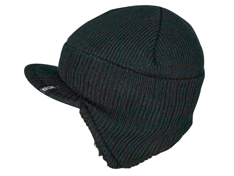 D+ZF JCB PEAKED KNITTED BLACK HAT