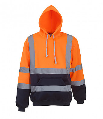 YK031/ON HI-VIS HOODIE ORANGE/NAVY
