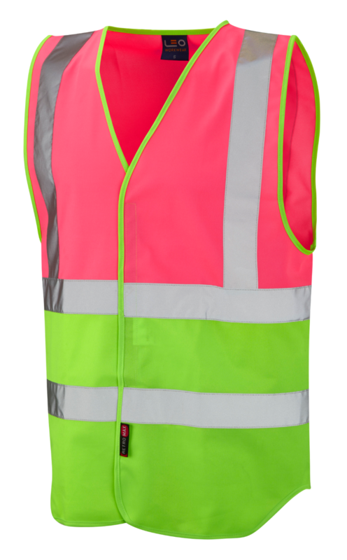 1110-PL REFLECTIVE WAISTCOAT LIME/PINK