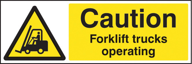 14215M CAUTION FORKLIFTS OPERATING